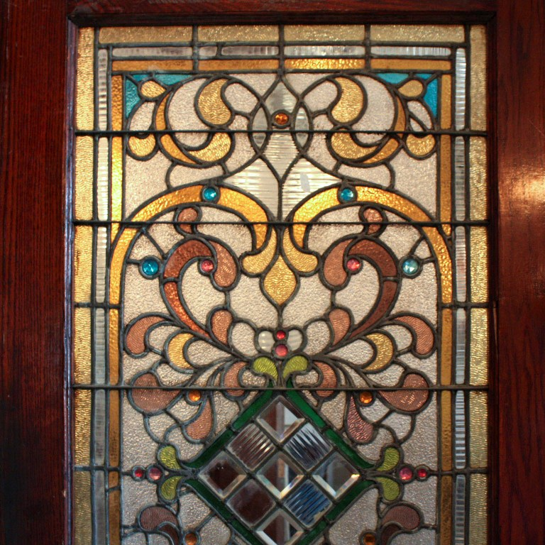 Large 38 antique oak front door with jeweled stained glass 1800s large 38 antique oak front door with jeweled stained glass 1800s ned124 for sale planetlyrics Gallery