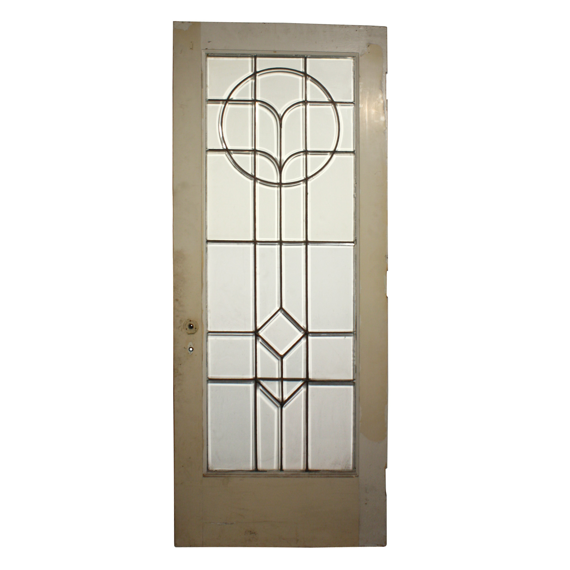Beautiful Salvaged Antique 32 Exterior Door With Beveled Glass And Copper Caning Ned213 Rw For