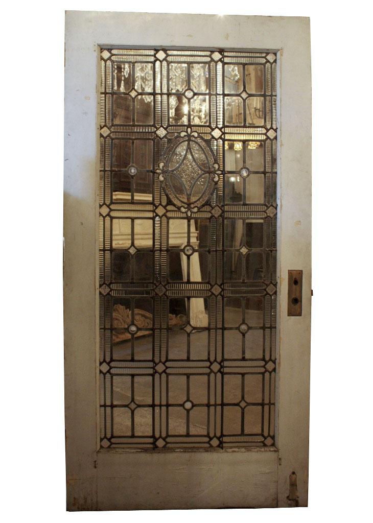 Large Antique Door With Jeweled Leaded Glass Fleur De Lis