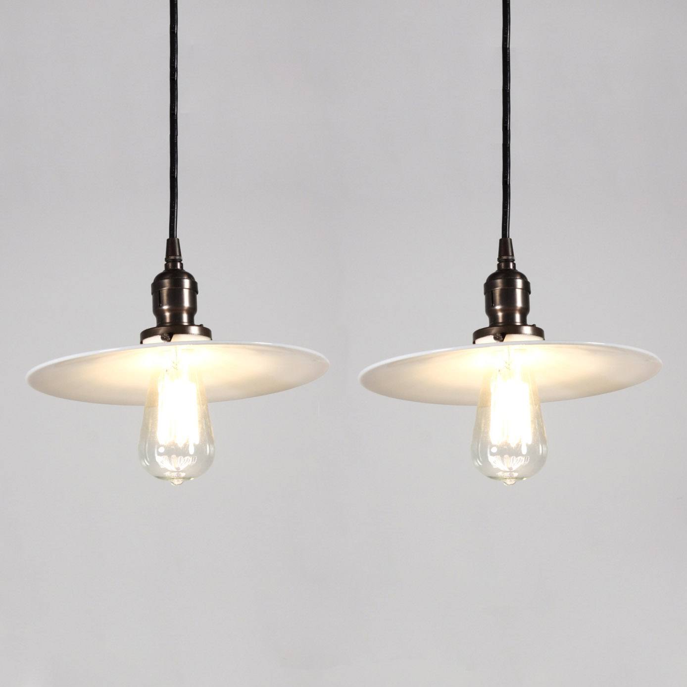 Two matching antique industrial pendant lights with milk for Antique pendant light fixtures