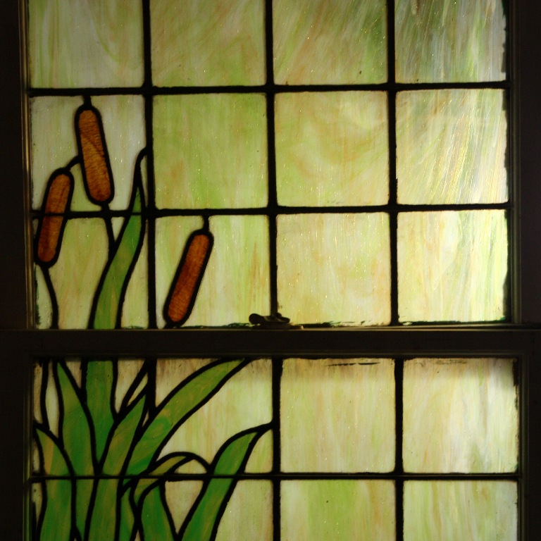 Remarkable antique stained glass window with water lily for 1900 stained glass window