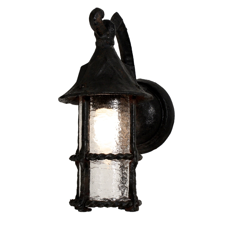 Pair Of Dramatic Antique Wrought Iron Tudor Lantern Sconces With Granite Glass C 1920s Nsp741