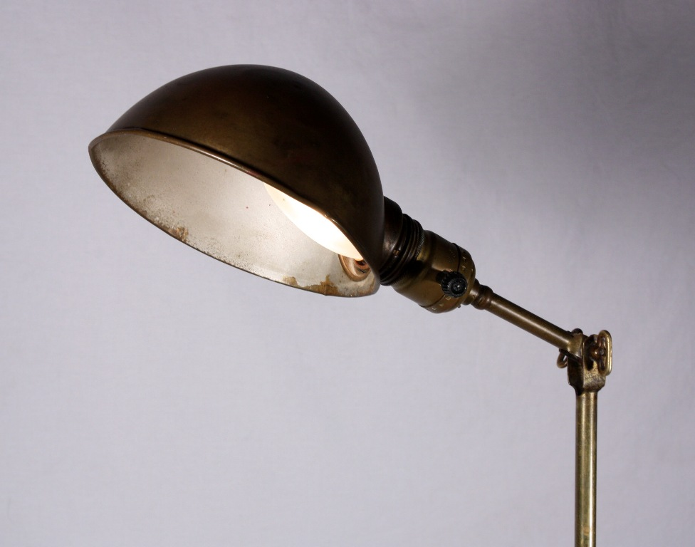 Wonderful antique industrial telescoping floor lamp brass for Antique floor lamp parts for sale