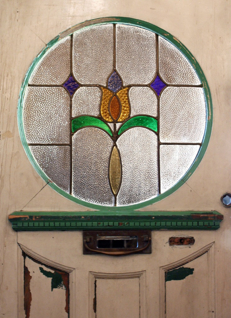 Antique Tudor Door With Round Stained Glass Window Early