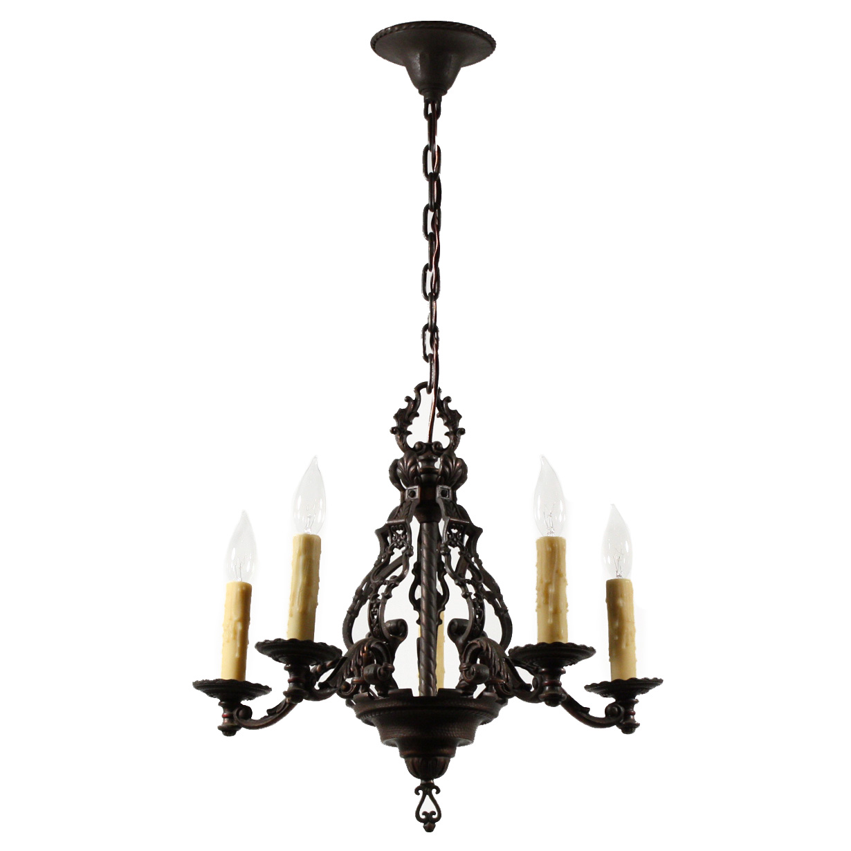 Magnificent antique figural five light chandelier cast iron early 1900s nc1513 for sale - Lighting and chandeliers ...