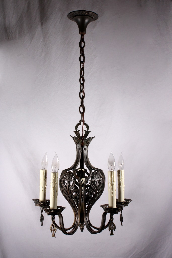 Unusual Antique Six Light Cast Bronze Chandelier With