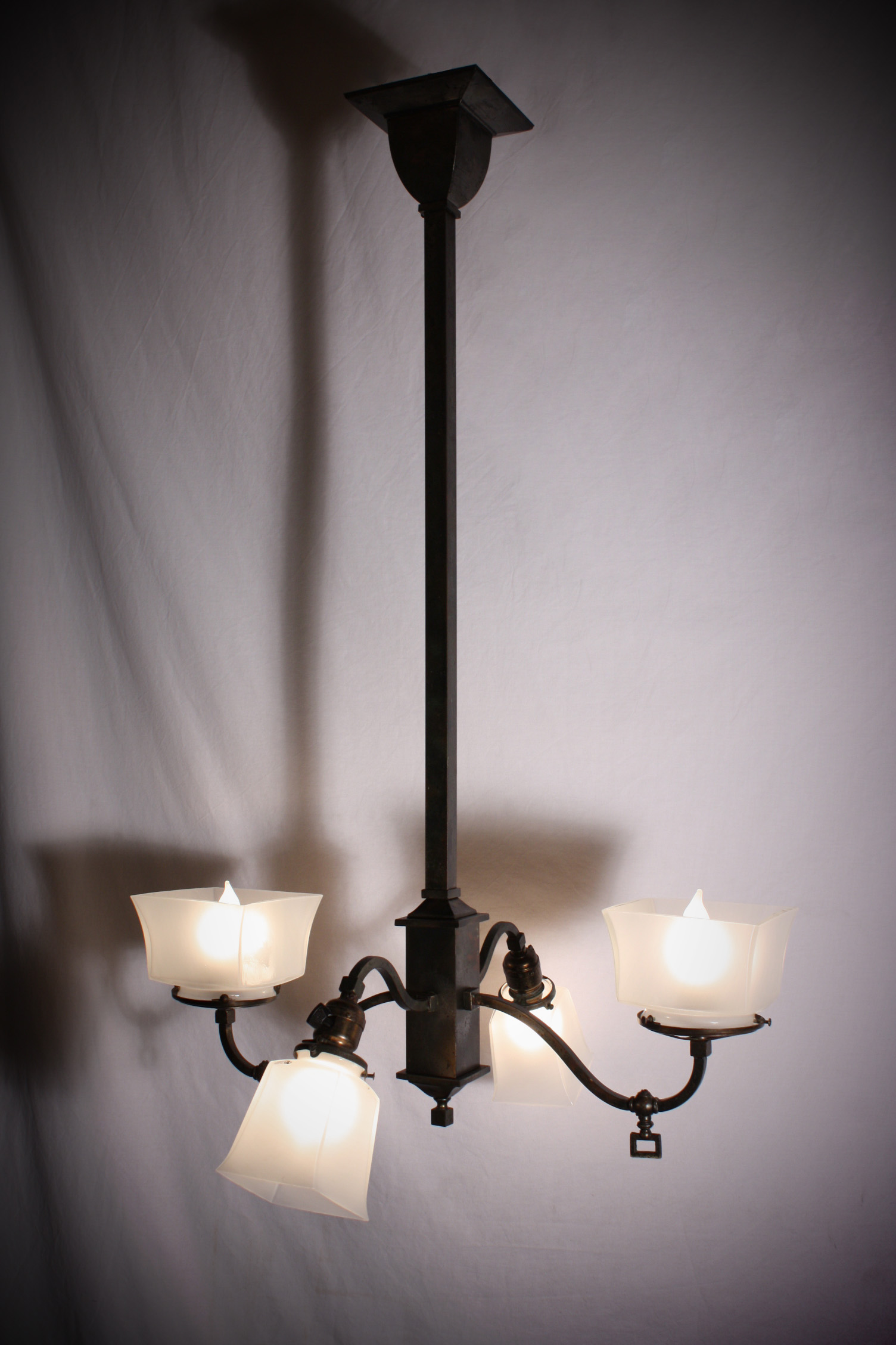 This is a fabulous antique brass Arts and Crafts four-light chandelier,  originally half gas and half electric, now all wired for electricity. - Amazing Antique Arts & Crafts Brass Four-Light Gas & Electric