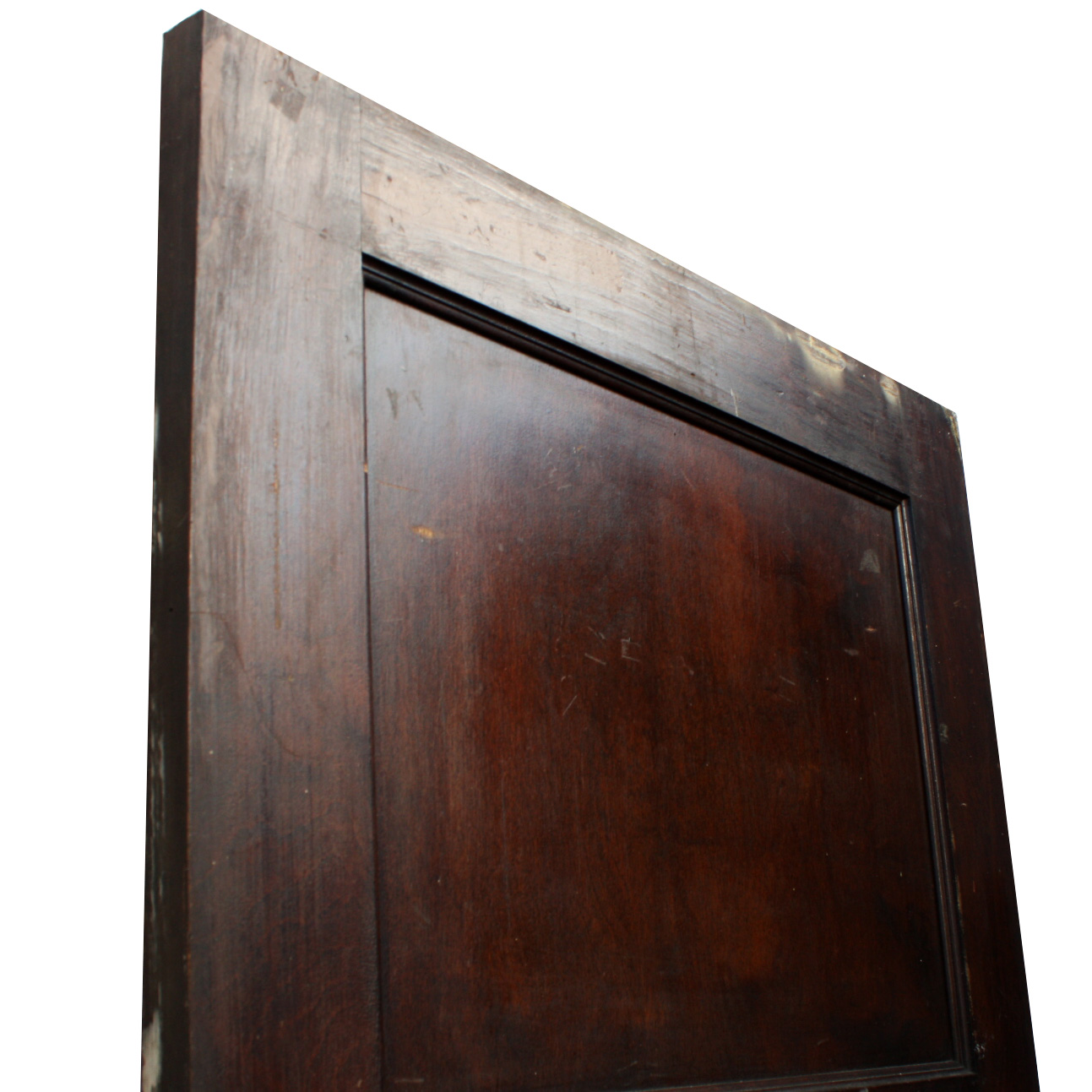 Antique three panel solid wood door stained finish nid27 for Old wood doors for sale