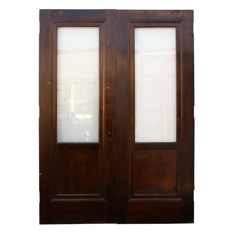 Handsome antique mahogany exterior 30 double doors with for Exterior doors for sale