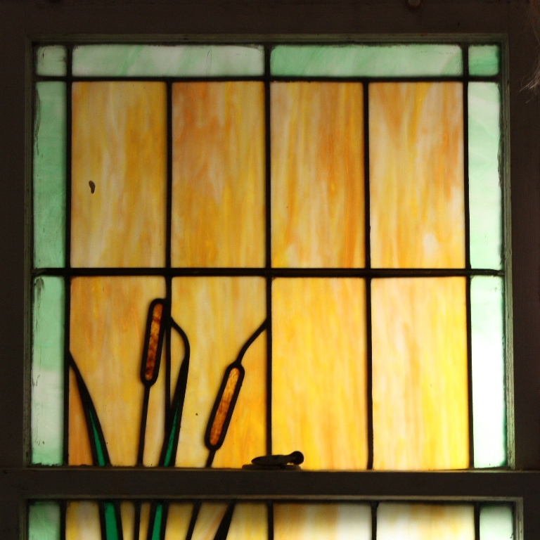 Incredible antique american stained glass window with swan for 1900 stained glass window