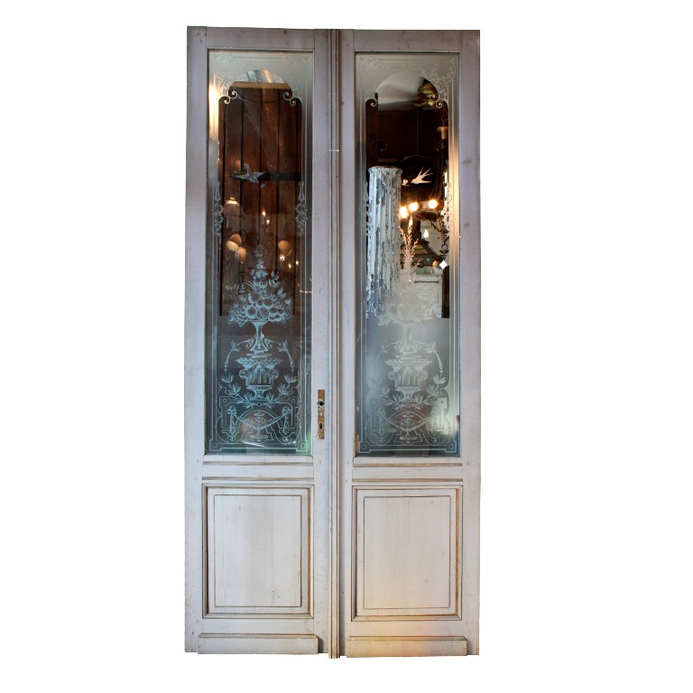 Incredible antique salvaged 50 exterior double doors with for Double doors for sale