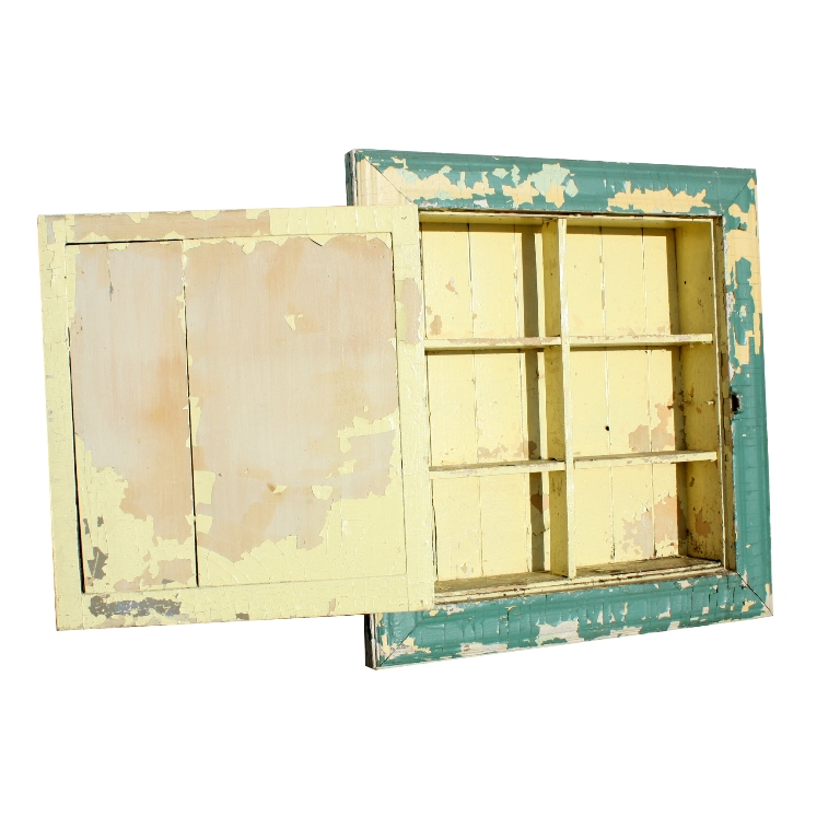 Salvaged Kitchen Cabinets For Sale: Salvaged Bathroom Medicine Cabinet With Aged Mirror, Green