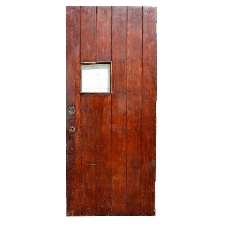 Unique antique exterior 36 plank door with small glass for Small exterior doors