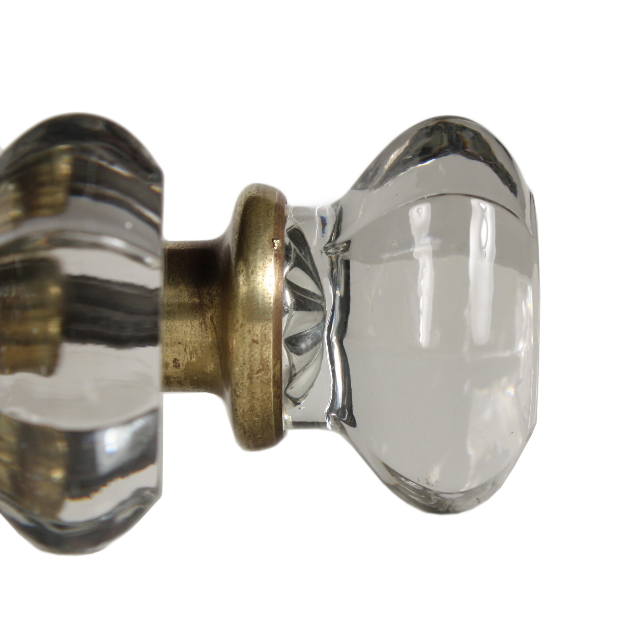 Antique Octagonal Glass Door Knob Set Ndk83 Rw For Sale