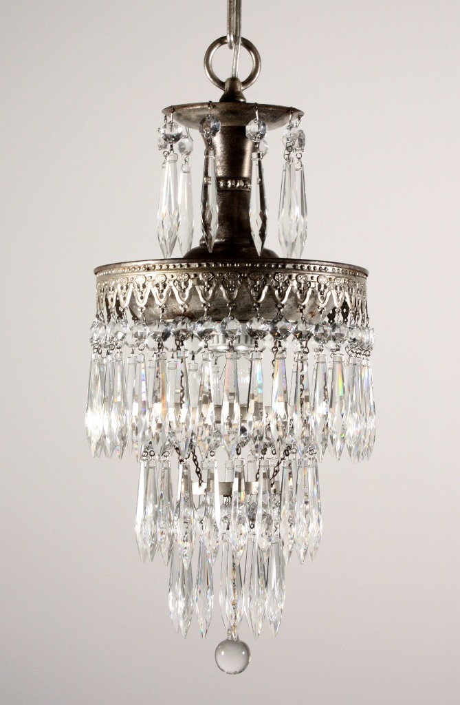 Delightful Antique Petite Three Tiered Chandelier Silver