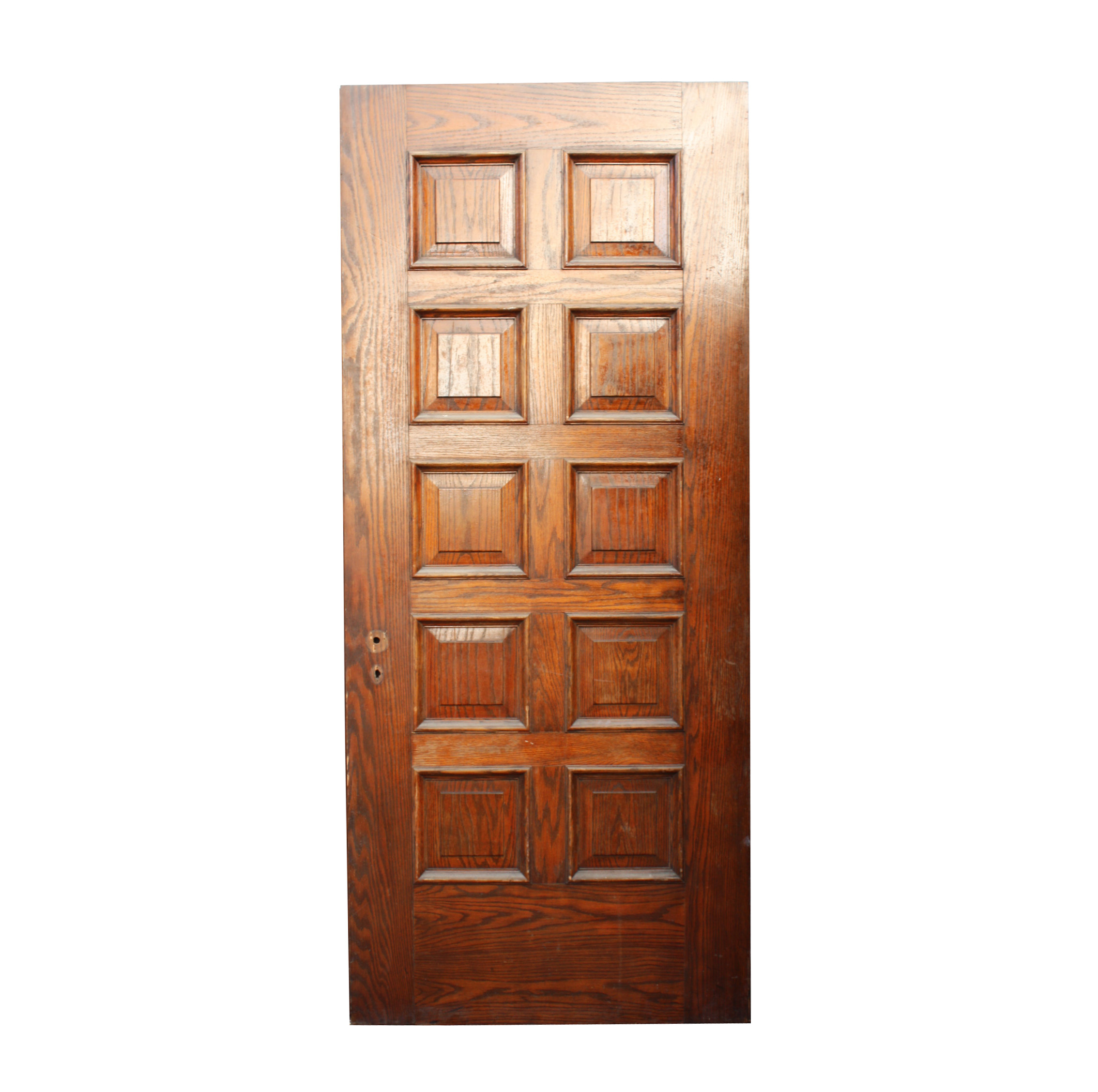 Handsome antique 36 solid wood door with recessed panels for Solid wood front doors