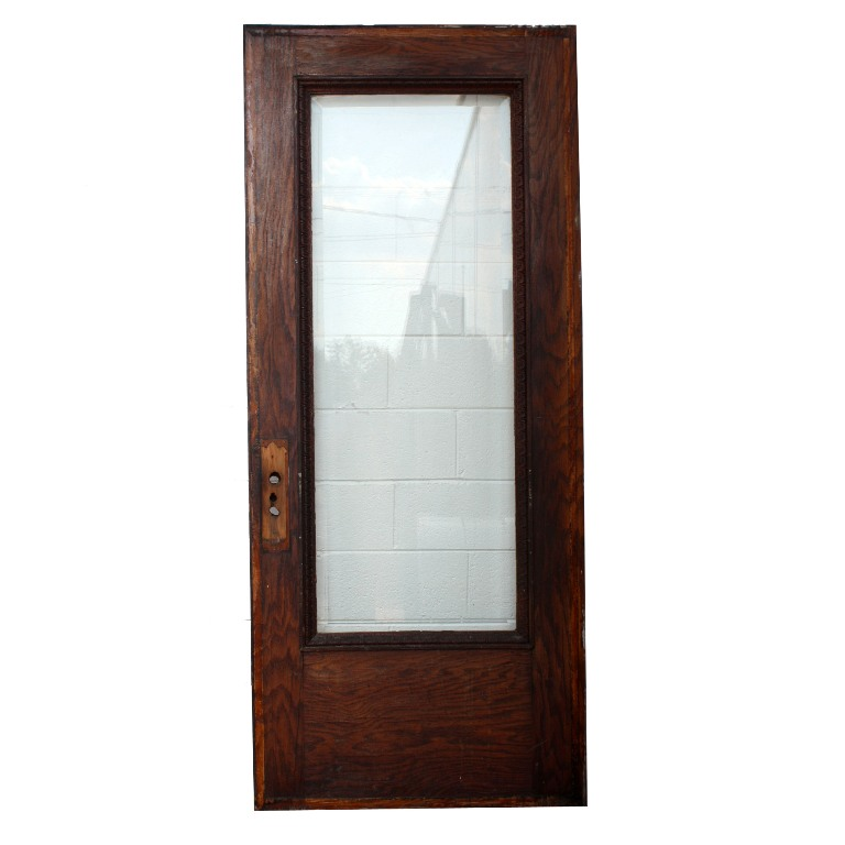 Antique Stained Oak 36 Exterior Door With Leaf And Dart Detail Beveled
