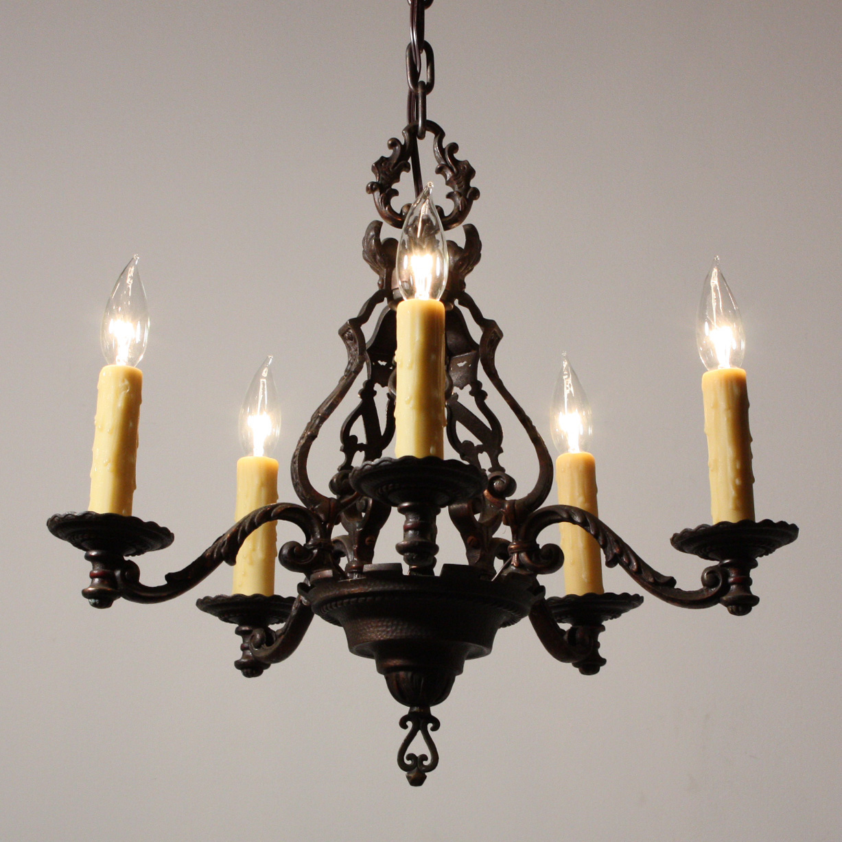 Magnificent antique figural five light chandelier cast iron early 1900s nc1513 for sale - Lights and chandeliers ...