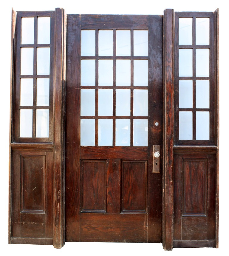 Amazing Antique Arts & Crafts Oak Entryway with Beveled Glass, 36 ...