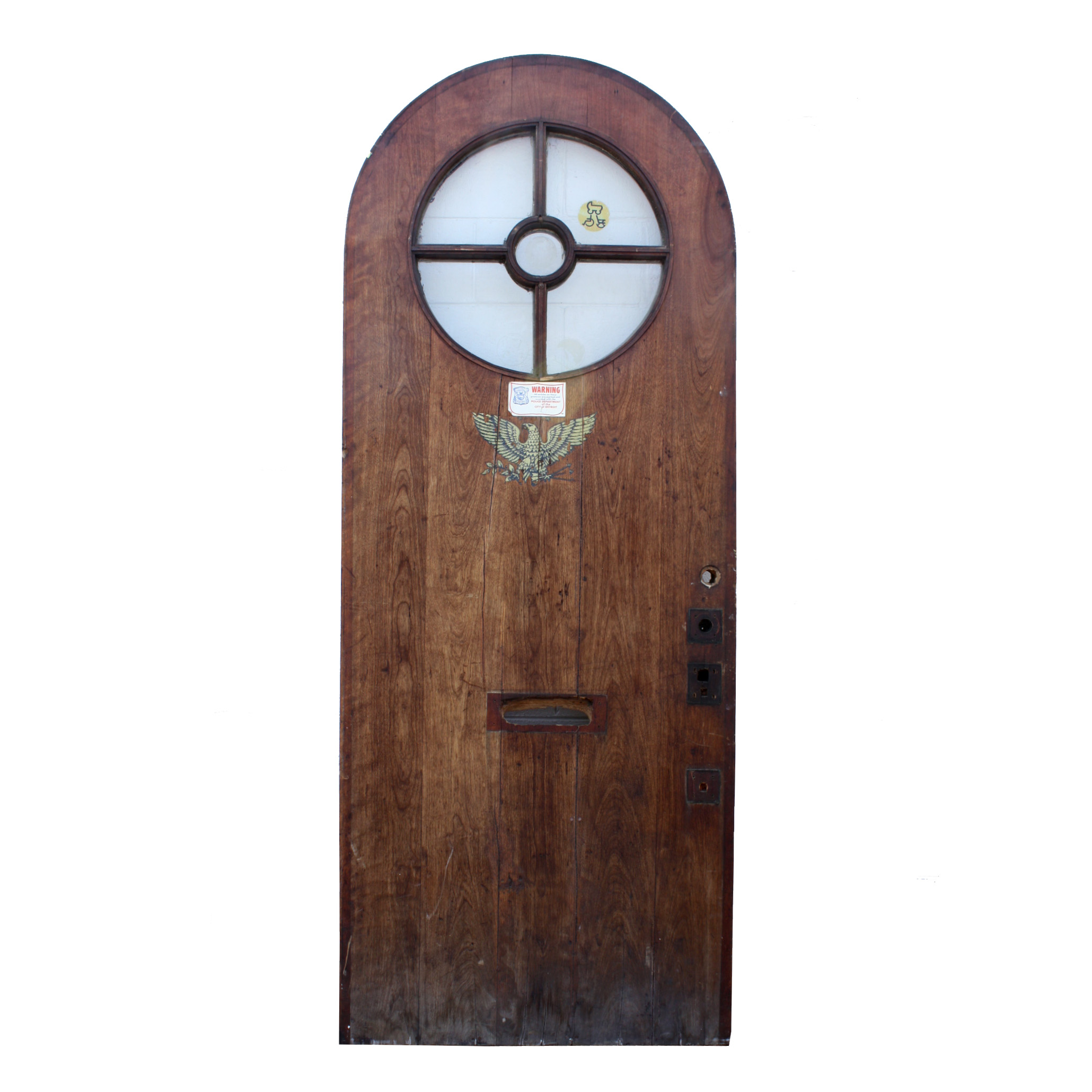 Salvaged 36 arched entrance door with round window and eagle ned171 for sale for Exterior door with round window