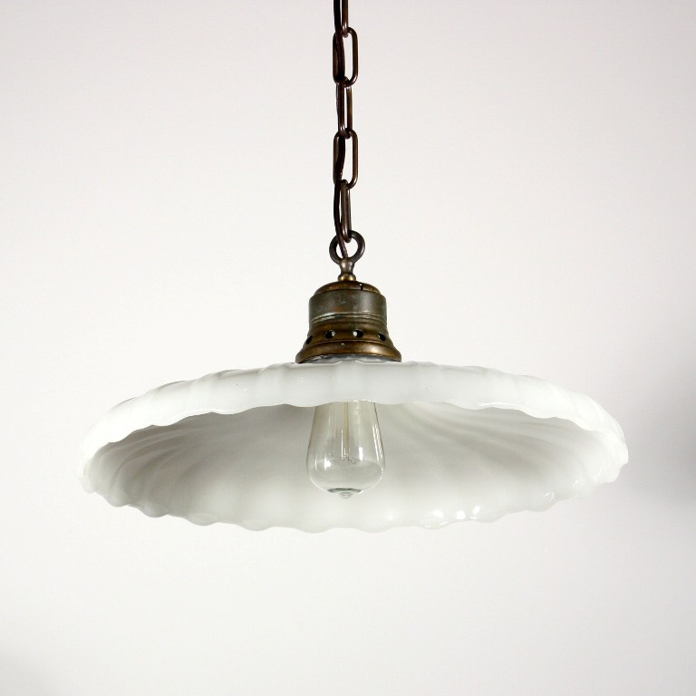 Lighting Fixtures Sale: Beautiful Antique Industrial Light Fixture With Scalloped