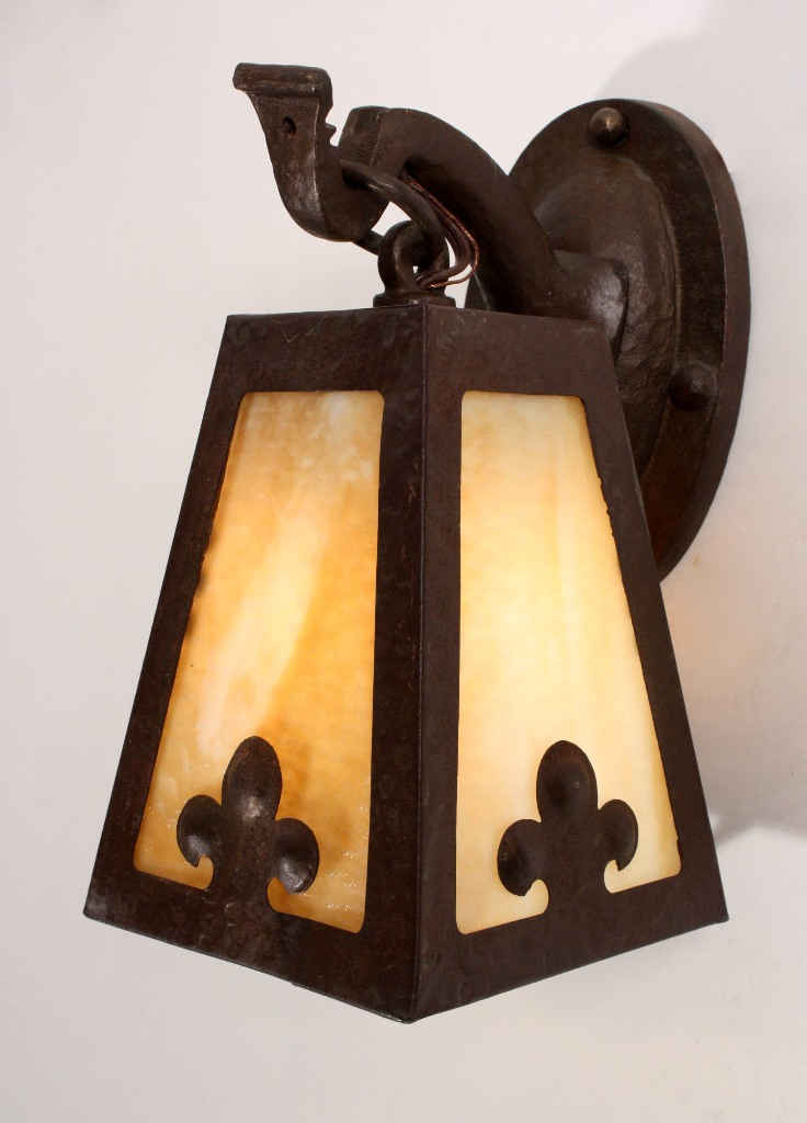 Antique Arts & Crafts Wall-Mount Lantern with Slag Glass NSP625 For ...