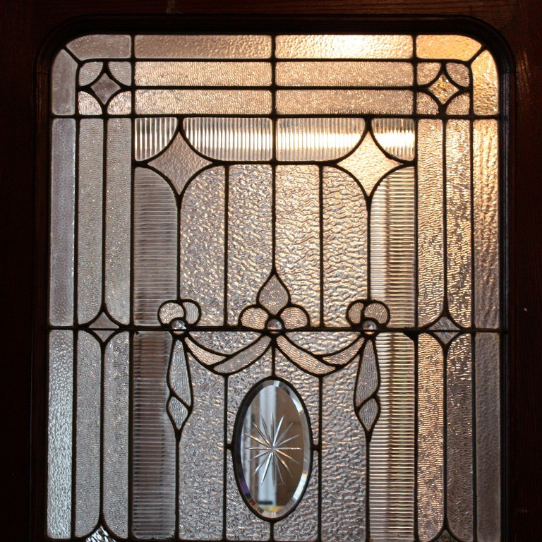 Incredible Antique 42 Exterior Door With Beveled And Jeweled Leaded
