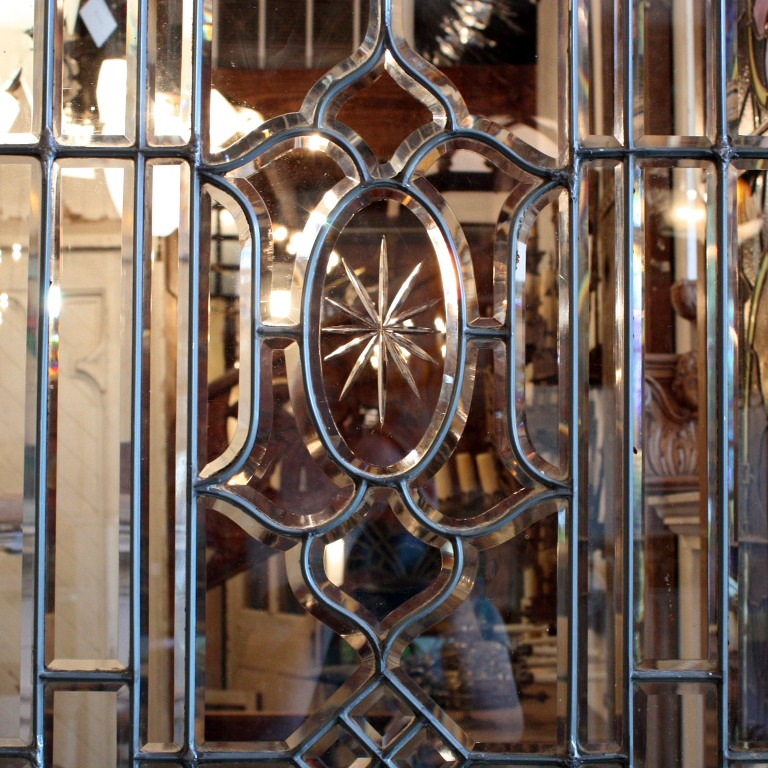 Amazing 34 Salvaged Exterior Door with Beveled Leaded Glass, Hand-Cut  Details NED72 - For Sale - Amazing 34 Salvaged Exterior Door With Beveled Leaded Glass, Hand