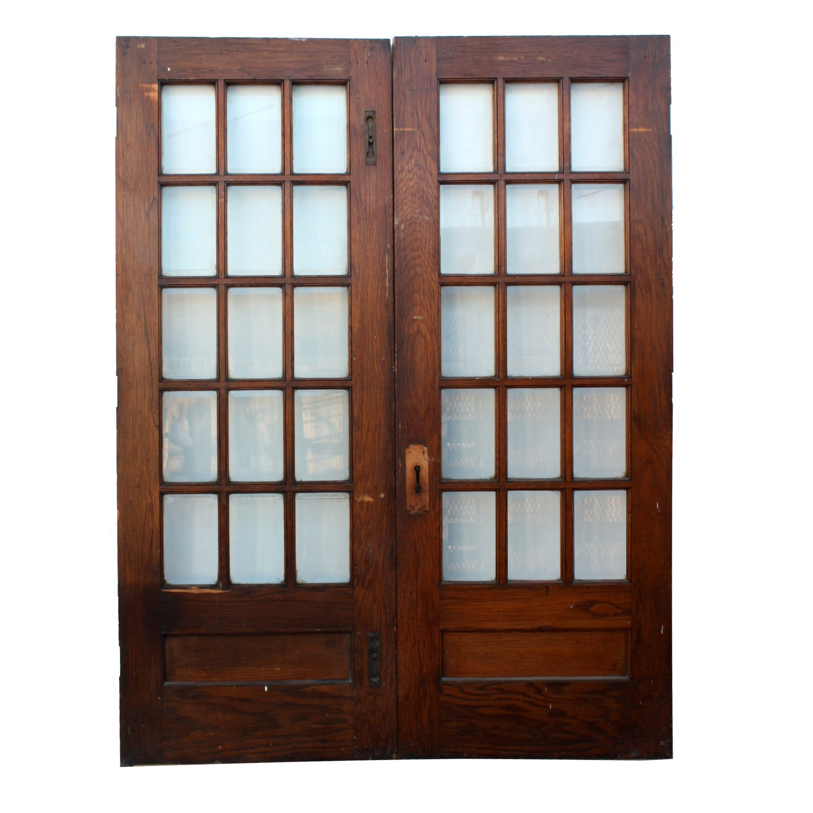 Pair of salvaged 64 divided light french doors with for French doors for sale