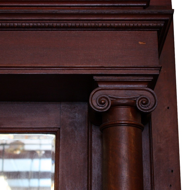 Stunning Antique Oak Fireplace Mantel With Beveled Mirror