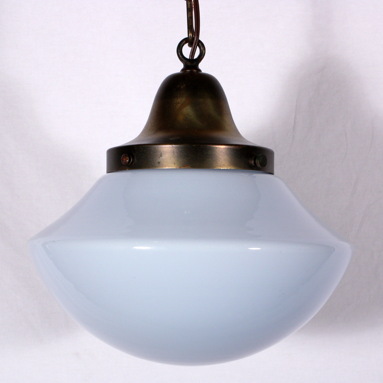 Unusual antique schoolhouse pendant light with blue tinted milk this is a fabulous antique schoolhouse light with an unusual blue tinted milk glass shade dating from the 1920s this single light pendant features a aloadofball Gallery