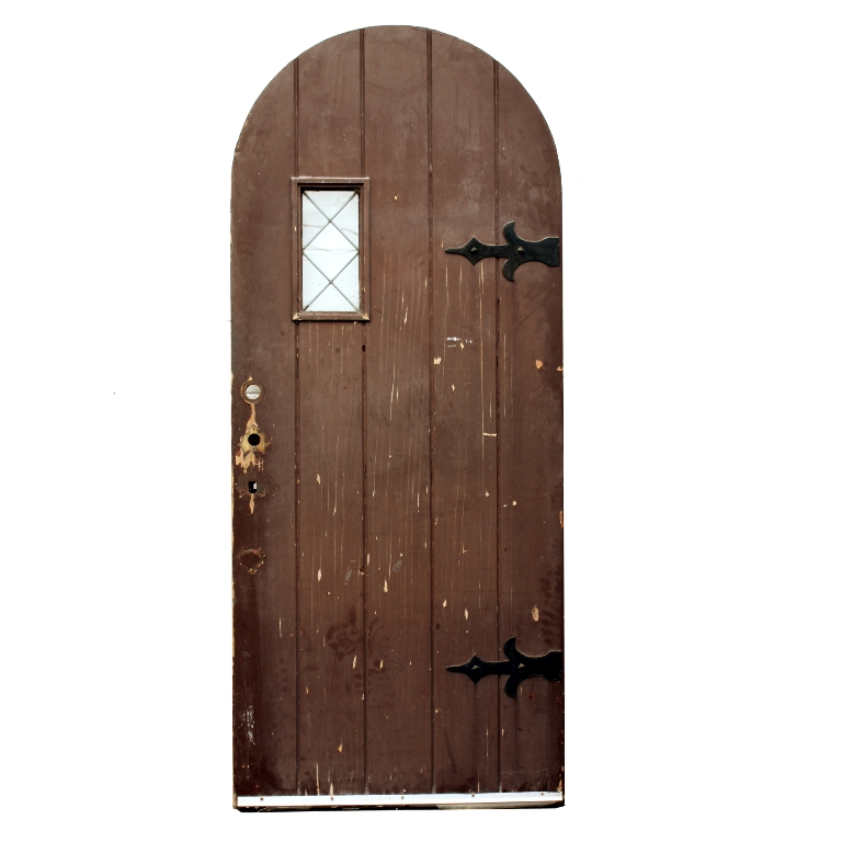 Antique 36 Exterior Arched Plank Door With Strap Hinges