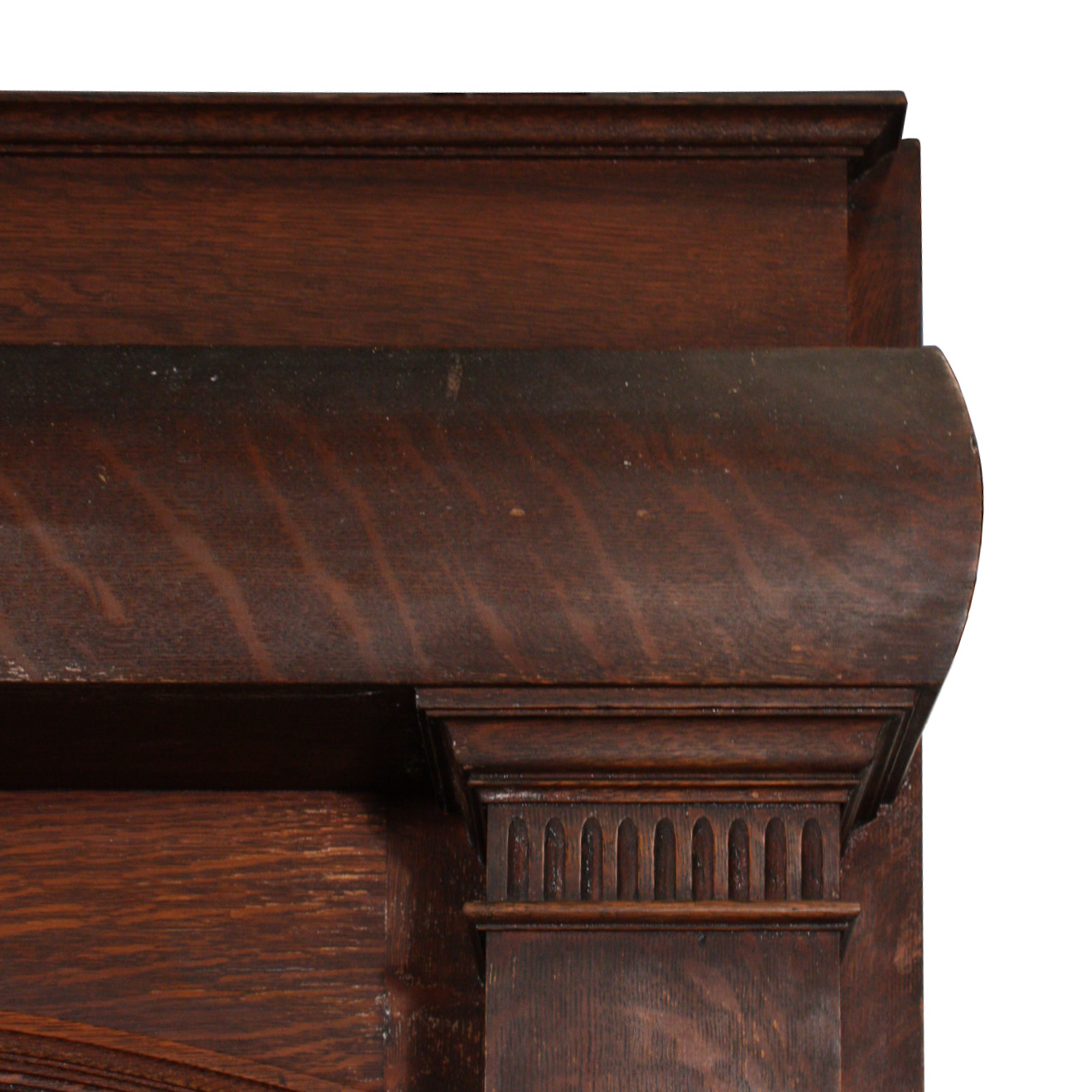 substantial antique quarter sawn oak fireplace mantel with arched