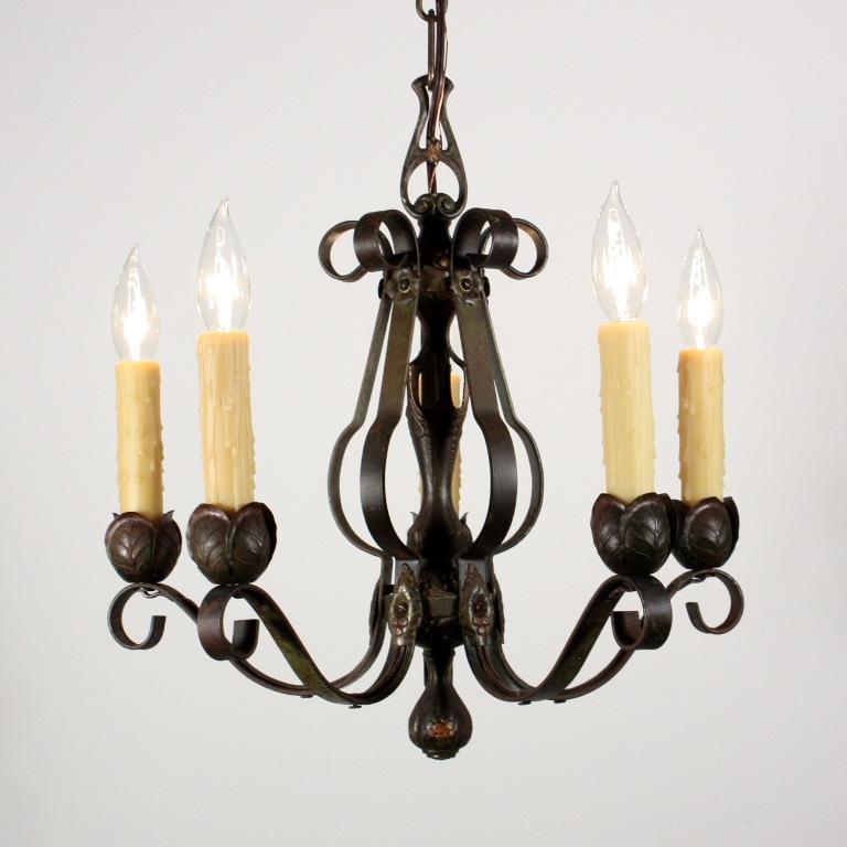Delightful Antique Five Light Tudor Iron Chandelier NC1259 RW For Sale Anti