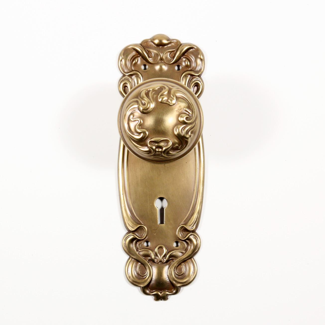 """Antique Brass """"Alby"""" Art Nouveau Door Hardware Sets by Sargent, c ..."""