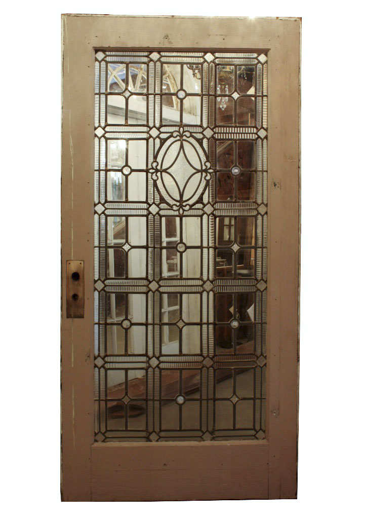 Large antique door with jeweled leaded glass fleur de lis for Oversized exterior doors for sale