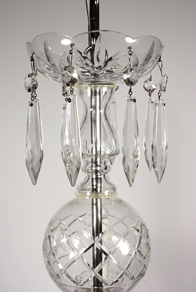 Splendid Antique Five Light Crystal & Glass Chandelier