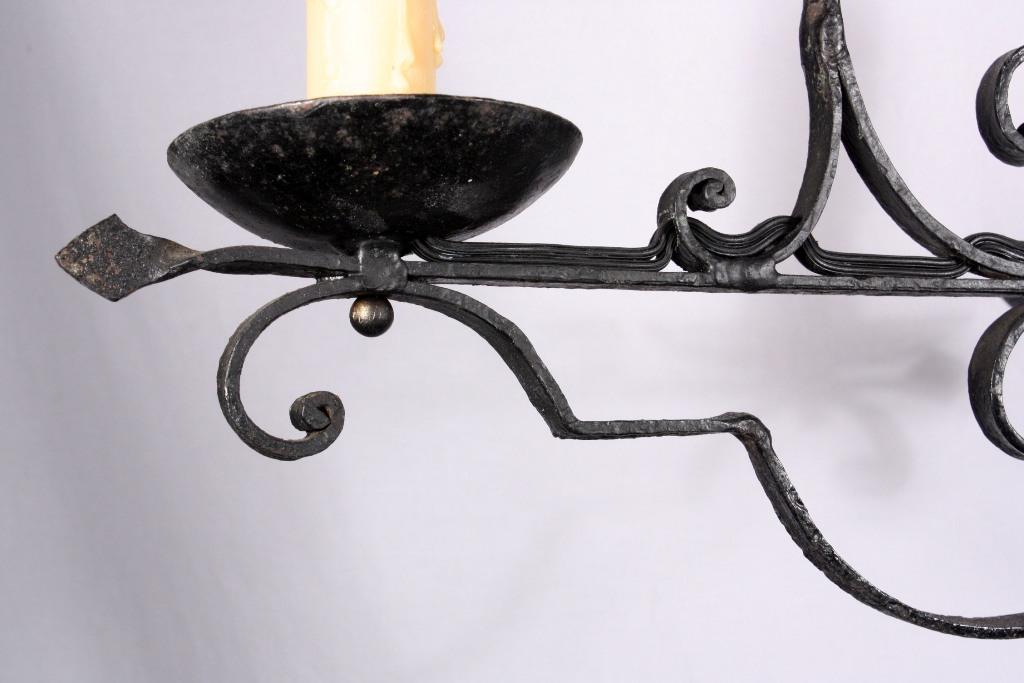 Delightful antique french three light wrought iron chandelier nc722 this is a wonderful antique wrought iron three light french chandelier dating from the 1930s the chandelier begins with a simple iron bowl atop a twisted aloadofball Choice Image