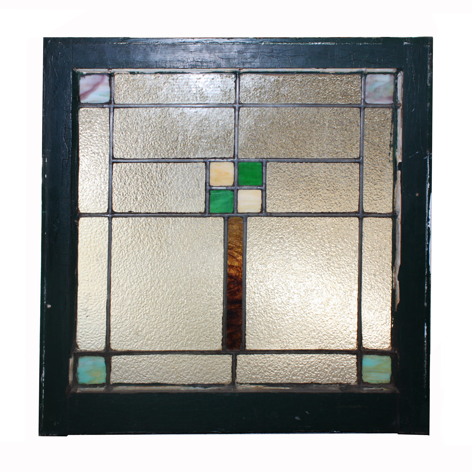 Geometric american arts and crafts stained glass window for 1900 stained glass window