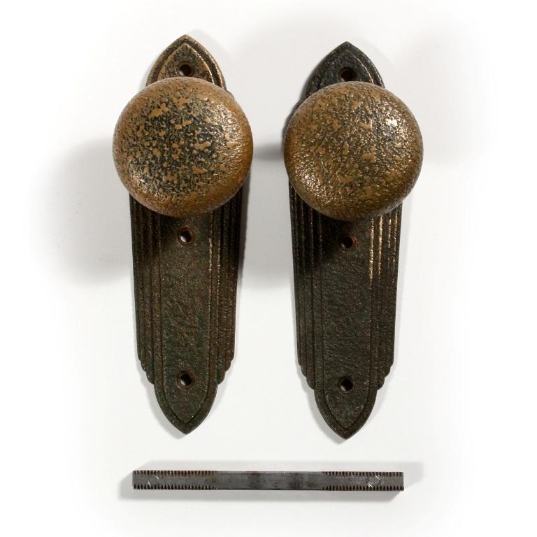 Unusual antique textured brass door hardware sets 1920s for 1920s door handles