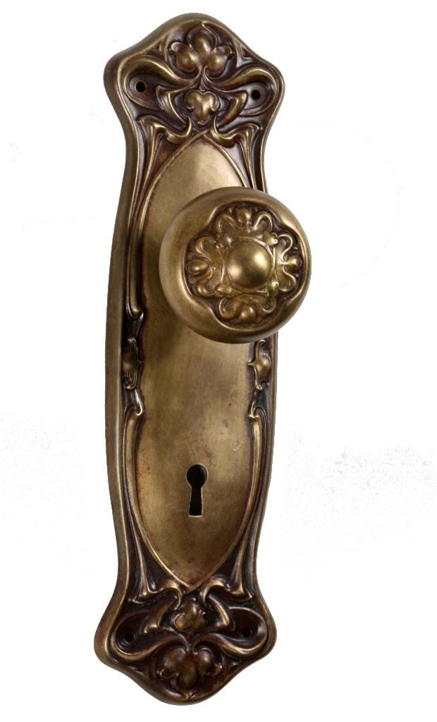 Antique Art Nouveau Nouvelle Entry Door Hardware Set By