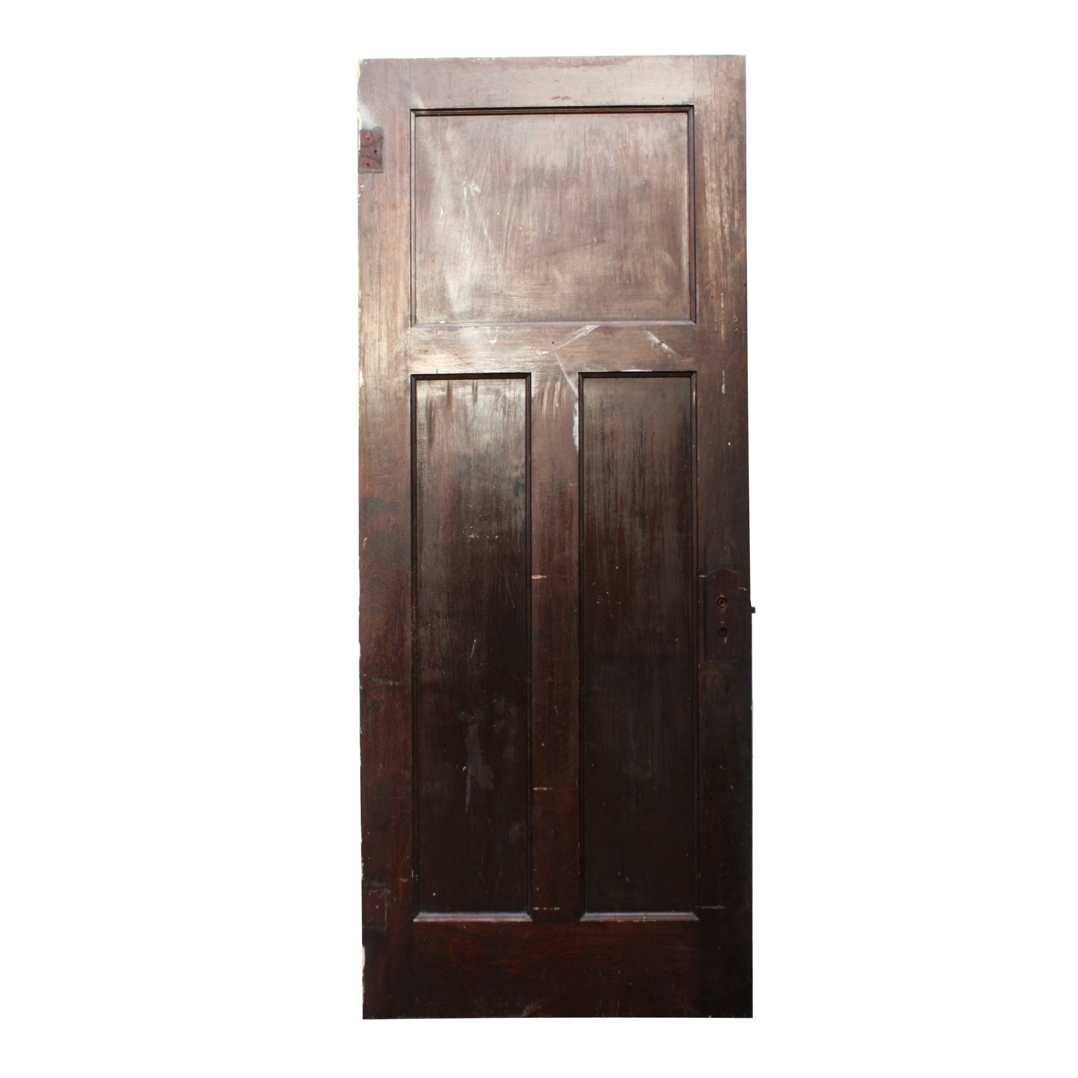 Antique three panel solid wood door stained finish nid27 for Solid wood exterior doors for sale