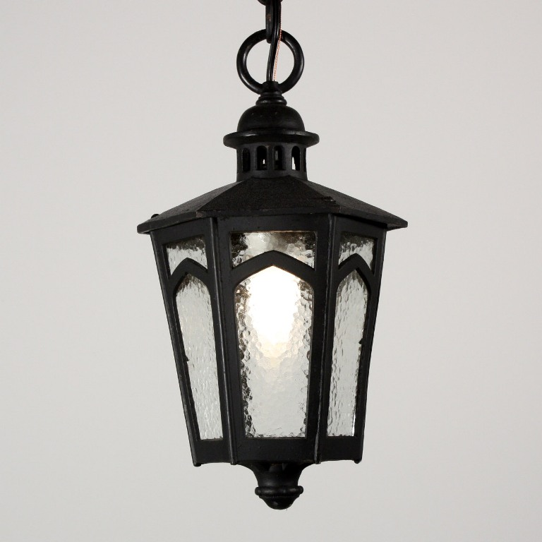 Amazing Antique Tudor Exterior Lantern With Clear Textured