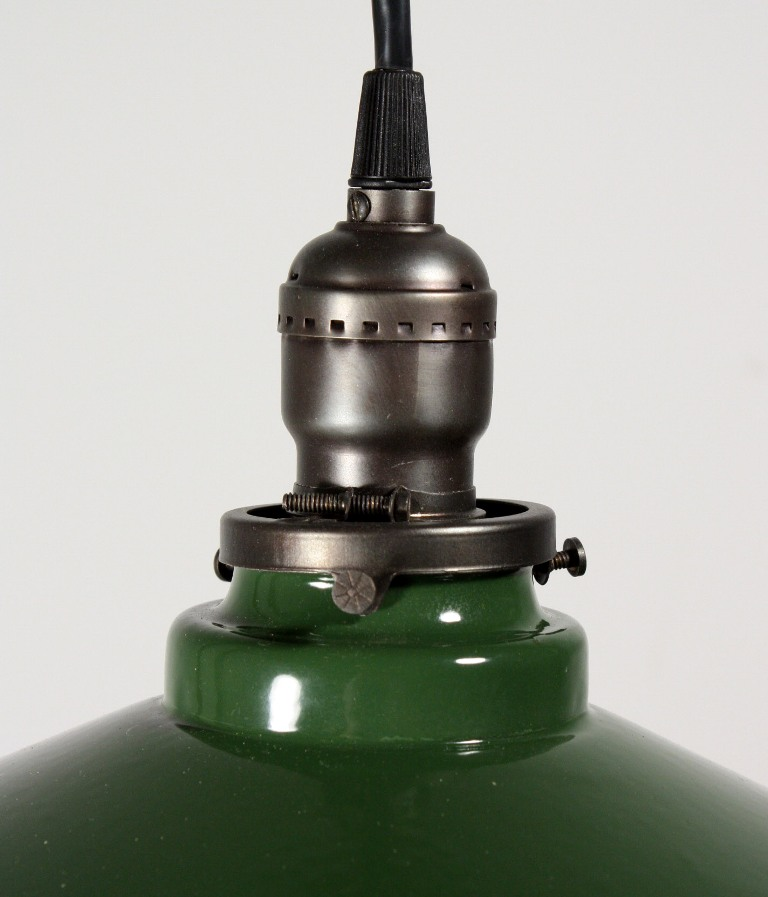 Vintage Industrial Enamel Pendant Light: Antique Industrial Pendant Light With Green Enamel