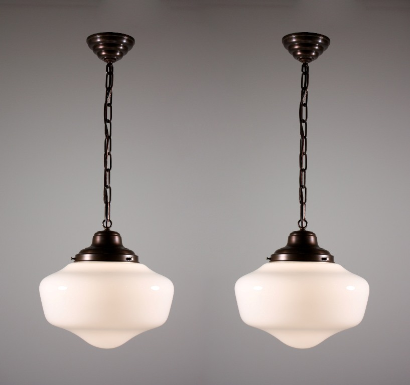 Two Matching Antique Schoolhouse Lights With Glass Globes
