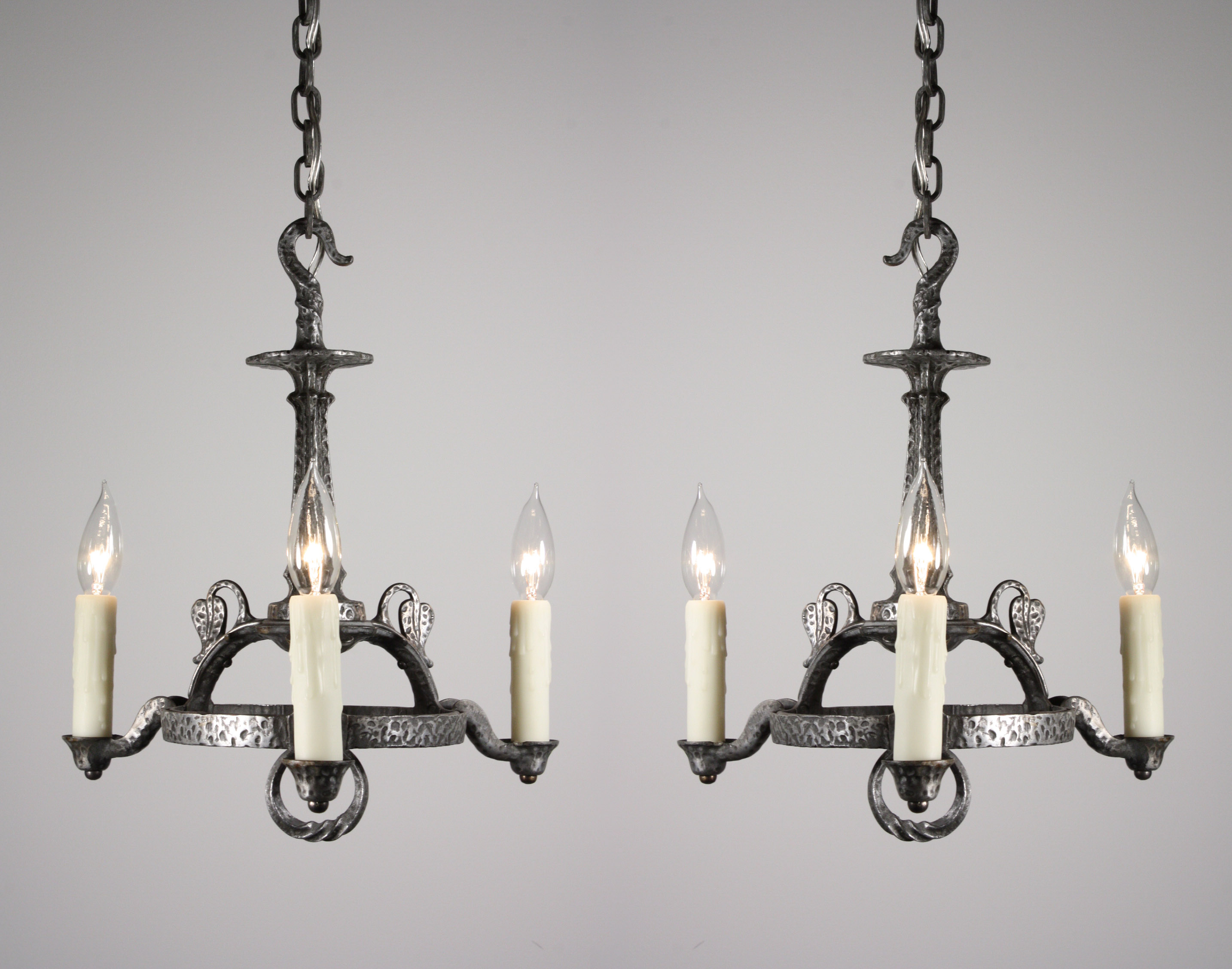 spanish revival lighting. Two Matching Antique Spanish Revival Cast Iron Chandeliers, Dating From The 1920\u0027s. Each Of Three-light Chandeliers Comes Down In A Chain To Twisted Lighting