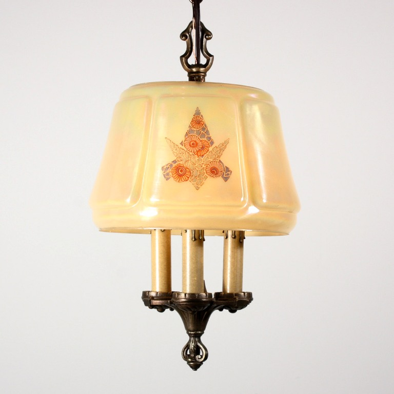 Charming Antique Three Light Chandelier With Iridescent Glass Shade Signed Lightolier Nc1312