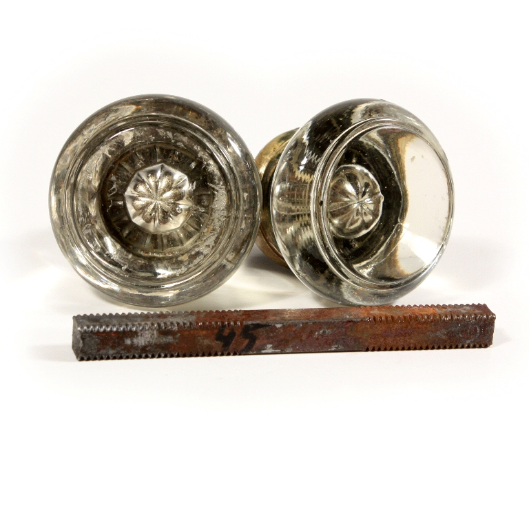 Petite Antique Round Glass Door Knob Sets, NDK80    FOUR AVAILABLE   For  Sale