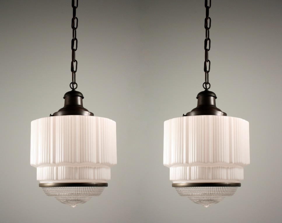Two Matching Antique Art Deco Skyscraper Pendant Lights NC ONE - 1930's kitchen light fixtures