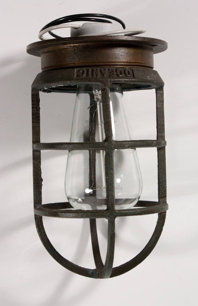 Antique Industrial Cast Bronze Cage Light Fixture for Wall or Ceiling, Signed Oceanic NC1030 For ...